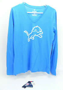 NFL Women's MEDIUM DETROIT LIONS Football Long Sleeve V-Neck T-Shirt - NWT