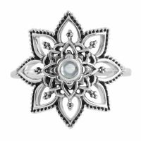 Sterling Silver Moonstone Gemstone Crystal Flower Mandala Boho Statement Ring