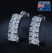 18K White Gold Filled Long Stud Earrings With SWAROVSKI Crystal