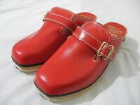 VINTAGE  Dr Scholl Austria Wood Leather CLOGS Shoes RED Size 6  - 1970s