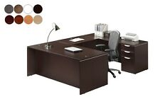 U Shaped Desk With Drawers Reversible Return 8 Colors Modern Design