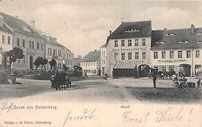 Gruss aus Seidenberg Schlesien Markt, Hotel, Restaurant Postkarte 1905