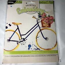 "PLAID Bucilla Bicycle Printed Embroidery Craft Kit Bike watercolor retro 8"" x 8"""
