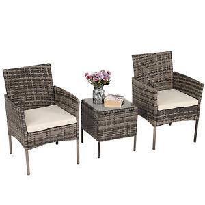 3pcs Rattan Patio Furniture Set Outdoor Garden Wicker Coffee Side Table Bistro