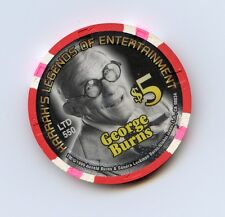 $5.00  Chip. Harrah's Casino. Vicksburg, MS.George Burns. Millennium Chip.