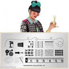 MoYou London FASHIONISTA 1 Collection Stamping Schablone, Streifen Knopf Schere
