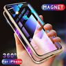 For iPhone 11 Pro Max XS 7 8 Magnetic Adsorption Metal Cover Tempered Glass Case