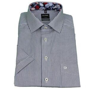 Olymp Moderno Fit Camicia a Maniche Corte Blu Bianco a Righe 5802 29