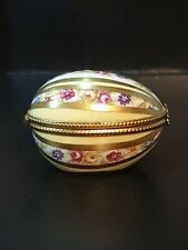 "Dubarry/Limoges Striped & Floral Sprays Egg Shaped Trinket/Pill Box - 2 3/8"""