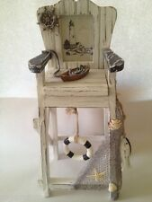 LIFEGUARD CHAIR Wood Shells Fish Netting Rowboat White Tabletop Photo Frame NEW
