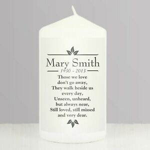 Personalised Candle Sentiments Remembrance Memorial Candle Name Loving Memory