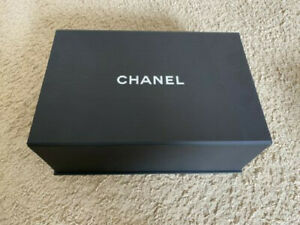 """Authentic Chanel Black Magnetic Box with tissues/Camellia flower:12.25""""x8.25""""x5"""""""