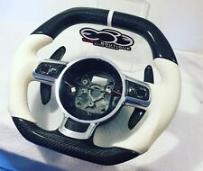 Audi R8 CF Steering Wheel Flat Bottom Thicker Grip Carbon Fiber with Red Accent