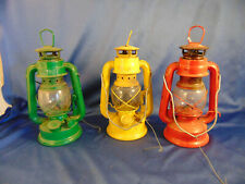 3 Vintage Hm 103 mini oil lamps guang moon lights parafin red green yellow hang