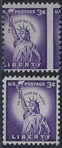 "1035 - 3c Vertical Misperf Error / EFO ""Statue of Liberty"" Mint NH"