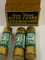 Lot of 8 : Buss non-20 One time Fuses New 20 amp