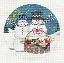 Winter Snowman Family with Baby handpainted Needlepoint Canvas Ornament Danji
