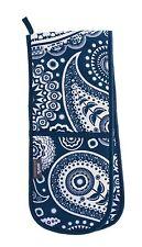 Guante De Horno Doble Mini Ornamental-Paisley Media Luna Para Los Amantes Del Azul Y Blanca