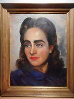Tableau peinture portrait buste jeune femme brune année 50