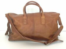 POTTERY BARN MONROE LEATHER WEEKENDER BAG CAMEL NEW SOLD OUT AT PB MSRP $299.00