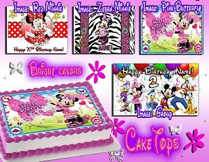 Minnie Mouse edible Birthday Cake or Cupcake toppers picture sheet paper sugar