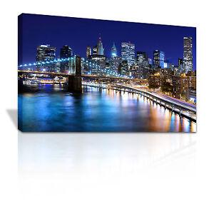 New York capital City USA Manhattan at night framed canvas print - C104