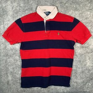 Ralph Lauren Polo Rugby Shirt Mens Extra Large Red Stripe Green Pony O4
