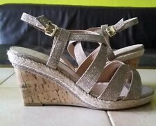 Ladies gold wedges shoes size 6 uk, wide fit