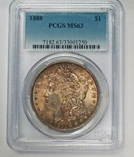 {bjstamps} 1888  Morgan SILVER Dollar PCGS MS63  RICH Bronze Toning