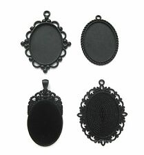 4 Goth Metallic BLACK Assorted Styles 40mm x 30mm CAMEO PENDANTS Frame Settings