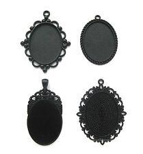 4 Goth Metallic BLACK Assorted Styles 40mm x 30mm CAMEO PENDANTS Frame Settings