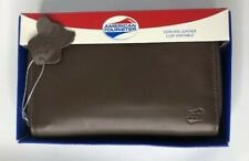 """NEW Womens American Tourister Genuine Brown Leather Zip Around Wallet 6"""" x 4"""""""