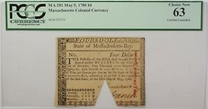 May 5, 1780 $4 Massachusetts Colonial Currency Note PCGS Choice New 63 MA-281