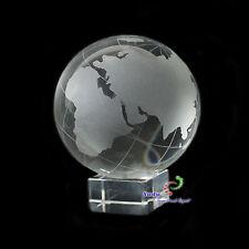 Glas Globus Weltkugel auf Sockel Vollglas graviert