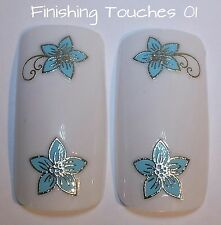 Nail Art Sticker -3D Blue Flower #273 TJ017 Transfer Shiny Metallic Silver