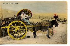 Decorated Horse Drawn Cart-Man w/ Barrels-Road to Rome-Italy-Vintage Postcard