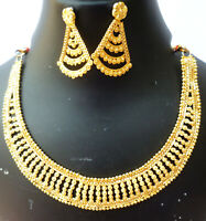 Indian 22K Gold Plated 8 Inch Long Fashion Weddings Necklace Earrings Set T
