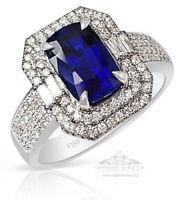 Untreated GIA 18kt Gold 2.53 tcw Blue Cushion Cut Ceylon Sapphire & Diamond Ring