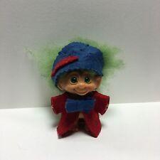 "Vtg Dam Wishnik Troll Doll 2.5-3"" Tall Green Hair Rare Green Spiral Eyes Hat"