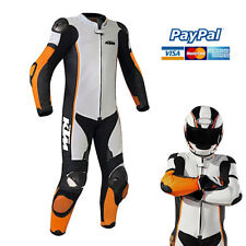 Men's KTM Rider Motorcycle Racing Leather Suit, White Black Riding Racing Suit