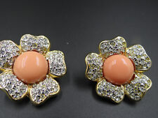 with crystals,bought in Italy flower pink coral earrings