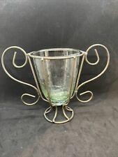 Vintage Recycled Glass/Metal Candle Holder Made in Mexico