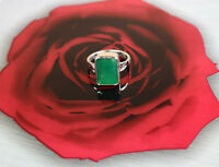 10-12 Ct Natural Colombian Emerald 925 Sterling Silver Unisex Gemstone Ring