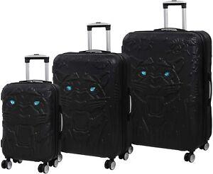 IT Luggage Tiger Emboss Crystal Eyes Hard Black Suitcase TSA Lock