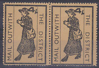 1971 STRIKE MAIL MAIL OUTWITH THE DISTRICT POSTAL SERVICE 4/- PAIR STAMPS MNH a