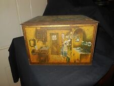 """Large Canco Litho Copper Tin Biscuit Box Kitchen Scenes 11"""" x 9"""" x 8"""""""