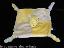 Doudou carré plat Winnie Disney Baby Nicotoy 4 noeuds jaune beige blanc bleu