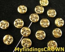 120PCS Antiqued gold Face flat round spacer beads FC869