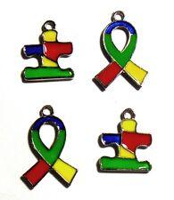 Autism Awareness Charms Puzzle Piece Ribbon Aspergers Bulk Lot of 20
