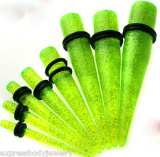 GREEN Taper Pair 6g Glitter Sparkle Ear Plug Tapers Expander Stretcher Gauges